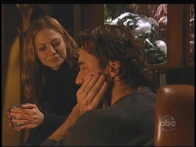 Tamara Braun and Thorsten Kaye from the ABC soap opera ALL MY CHILDREN. Braun played the part of Reese Williams and Kaye the part of Zach Slater. This image is from 12/09/2008 in which Reese tried to comfort Zach during the time his wife, Kendall (Alicia Minshew) was in a coma after a freak storm swept through Pine Valley.