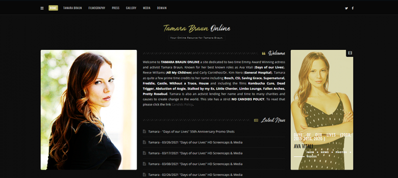 Tamara Braun Online Celebrates 15 Years On The Web With A New Layout